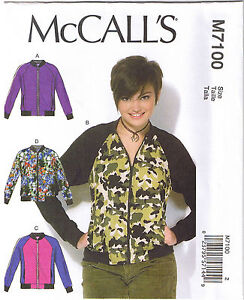 Misses Semi Fitted Bomber Jackets Unlined McCalls Sewing Pattern ...