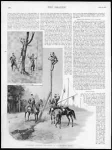 1895-Antique-Print-GERMANY-Prussia-Uhlans-Military-Severing-Telegraph-144