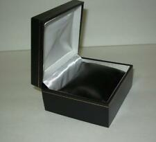 Black Goldtone Trim Bracelet/Watch Jewelry Box Pillow Enclosed, White Interior