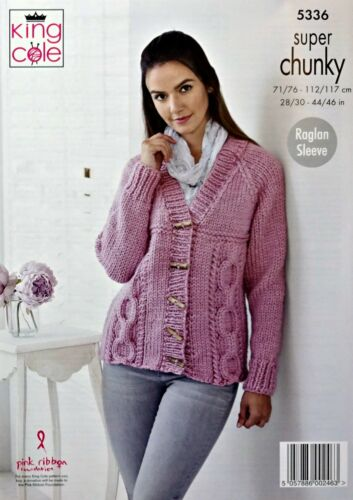 KNITTING PATTERN Womens Cable Jumper and Cardigan Super Chunky King Cole 5336