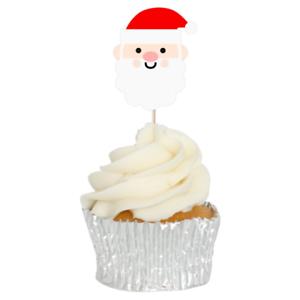 Santa Christmas Cupcake Toppers 12pk Father Christmas Cute Head Decoration