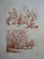 D'AP. F. BOUCHER 1703-1770 LITHO XIX° SANGUINE ENFANT AMOUR ROMANTIQUE ROCOCO ad