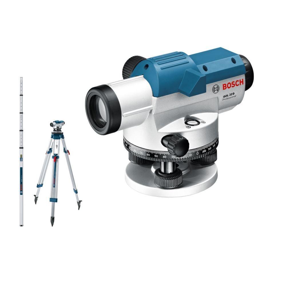 BOSCH Optisches Nivelliergerät GOL 32 D   Baustativ   Messlatte