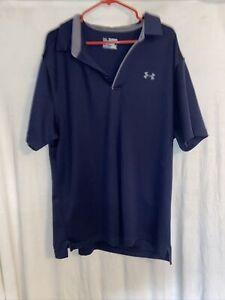Men's Under Armour Heat Gear Loose Stretch Short Sleeve Golf Polo Shirt Blue 2XL