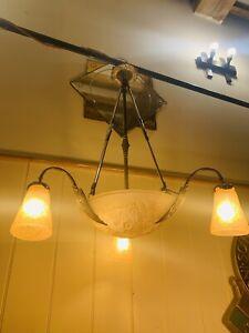 ANTIQUE ART DECO VERRE & BRONZE chandelier lumière par MULLER FRERES signé années 1930