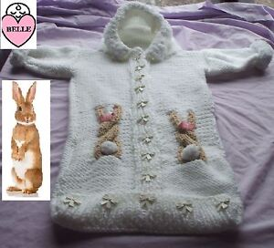 bootees knitting pattern in chunky wool in 6 sizes girl. Baby coat with hood