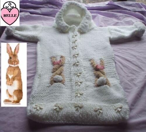 Tejer patrón Bebé Capullo grueso de lana Bolsa De Dormir capucha 3 Tamaños. Papoose