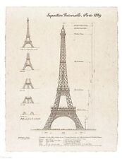 ART PRINT Exposition, Paris 1889 Eiffel Tower 13 1/2x10 1/2 Yves Poinsot