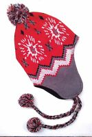 Chullo Pom-beanie Winter Ski Knit Hat Red/gray/white Snowflake Pattern Men/women