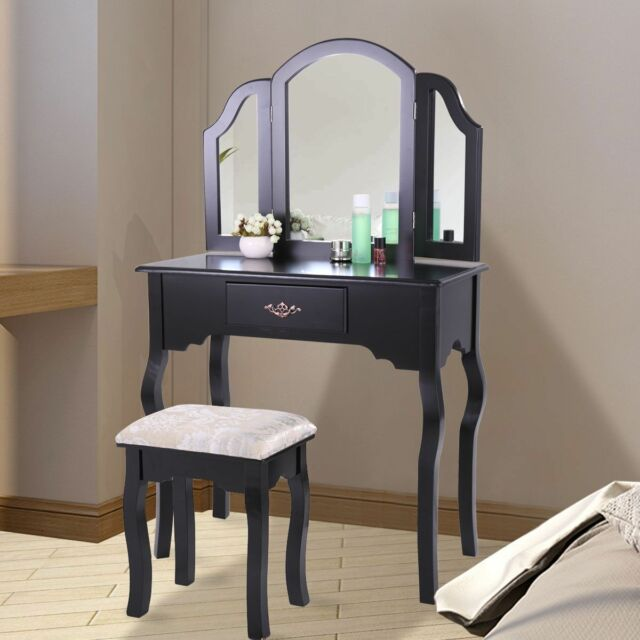 Makeup Wood Dressing Table Vanity Set With Stool And 3 Tri Mirrors Bedroom