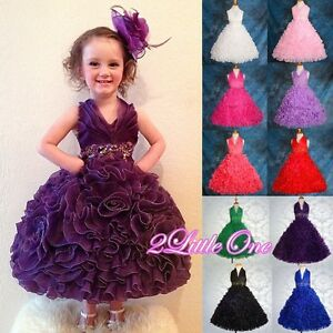 50% SALE Embossed Flower Girl Halter Dress Wedding Pageant Party ...