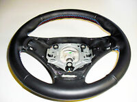 Bmw E90 E91 Steering Wheel Cover Black Leather Stitching M Sport Made In Italy