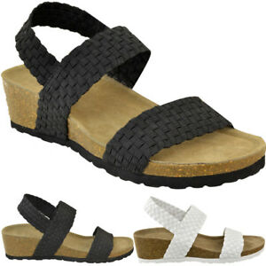 8f9783f0820 Details about Womens Ladies Low Wedge Heel Sandals Wide Fit Elastic Stretch  Cushioned Comfort