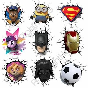 Details about NIGHT 3D WALL LIGHTS KIDS BEDROOM LIGHTING STAR WARS, BATMAN, PONY & MORE