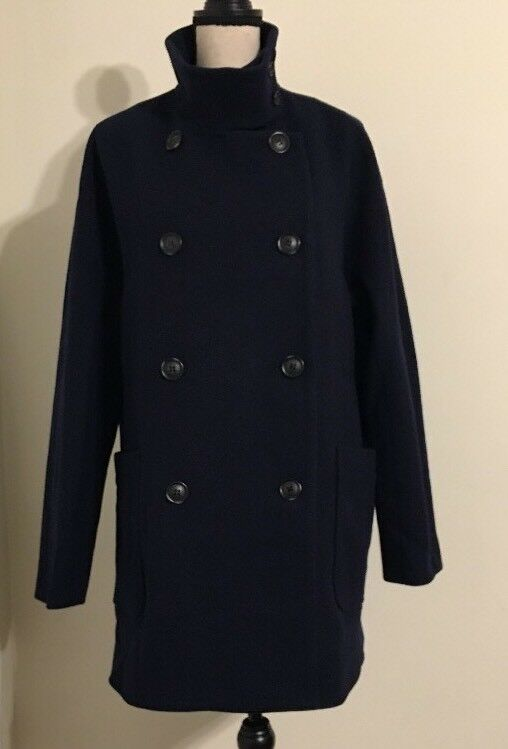 NEW Madewell  298 double-breasted city grid coat Size14 H0064 In Deepest Navy