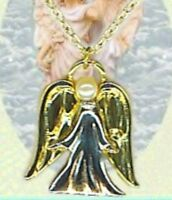 Guardian Angel 18 Necklace Gold & Silver Plate, Faux Pearl, Made In Usa,