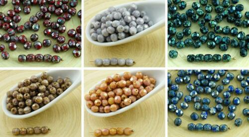 100pcs Picasso Czech Glass Round Faceted Fire Polished Beads Small Spacer 4mm