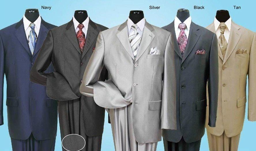 Men's 2 piece 3 Button Elegance Wool Feel Suit Sharkskin Look Fine Suit 58025