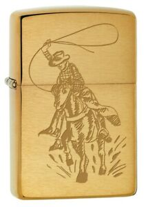 Zippo Lighter: Cowboy with Lasso on Horse - Brushed Brass 80238