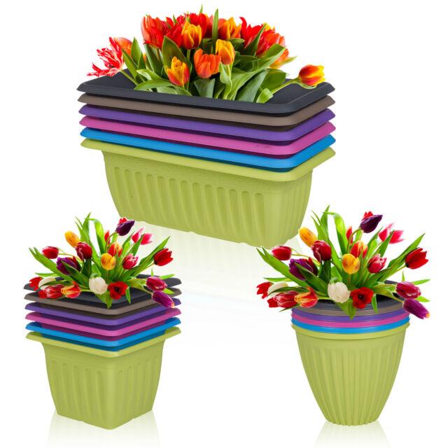 Stackable Plastic Plant Flower Coloured Holder Pot Herb Planter Garden Decor Set