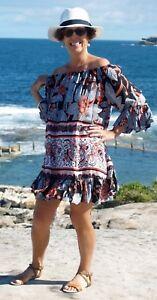 NWT-PLUS-SIZE-Black-amp-Tan-Floral-print-top-dress-Size-to-fit-12-14-16-18-20-22