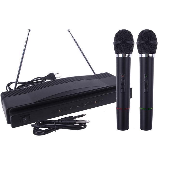Sistema De Micrófono Inalámbrico Doble De Mano Profesional Profesional Profesional Woofers NFC antena plata  bajo precio del 40%