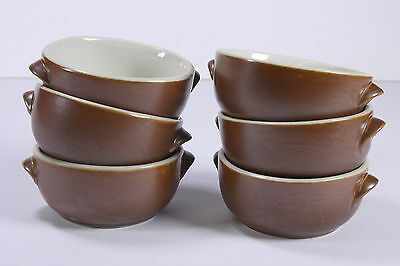 6 Vtg Hall Restaurant Ware Brown Individ Bean Pots Dbl Handle Oatmeal Soup Bowls