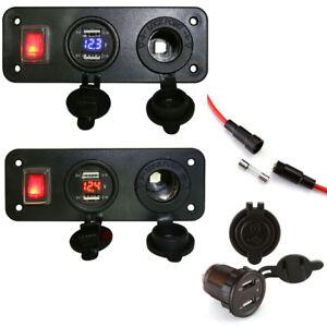 Car-Dual-USB-Charger-Cigarette-Lighter-Socket-Voltmeter-Adapter-Set-12V-24V-AD