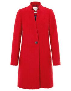 Detalles de Monsoon Rojo Bouclé Entallada Borde Gabardina Elegante Abrigo Texturizado