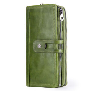 Women-Genuine-Leather-Long-Wallet-RFID-Cash-Card-Holder-Clutch-Zip-Purse-Handbag