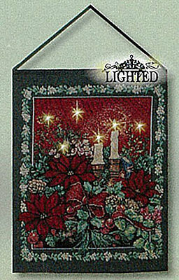 Evening Solitude Christmas Poinsettias Tapestry Bannerette Wall Hanging w/Lights