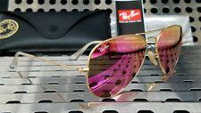 New Ray Ban RB3025 112/4T Aviator Women's Sunglasses Satin Gold / Cyclamen Flash
