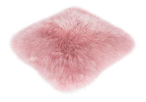 Kissen Schaffell 35 x 35 cm Weiß Rosa Grün Sofakissen Dekokissen Fellkissen Echt