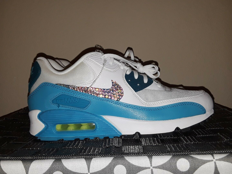 New Women Nike Air Max Swarvoski Crystals Shoes 9.5 White Blue Teal