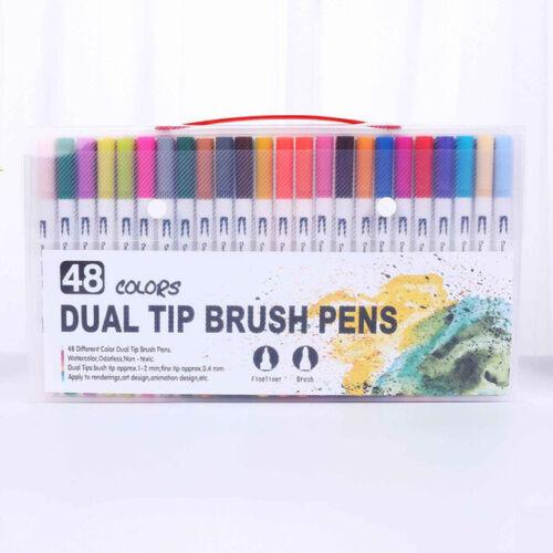 12//48//120 Colors Fineliner Dual Tip Brush Pens Drawing Painting Art Marker Pens