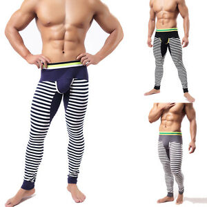 Men's Striped Cotton Thermal Long Johns Underwear Pants U ...