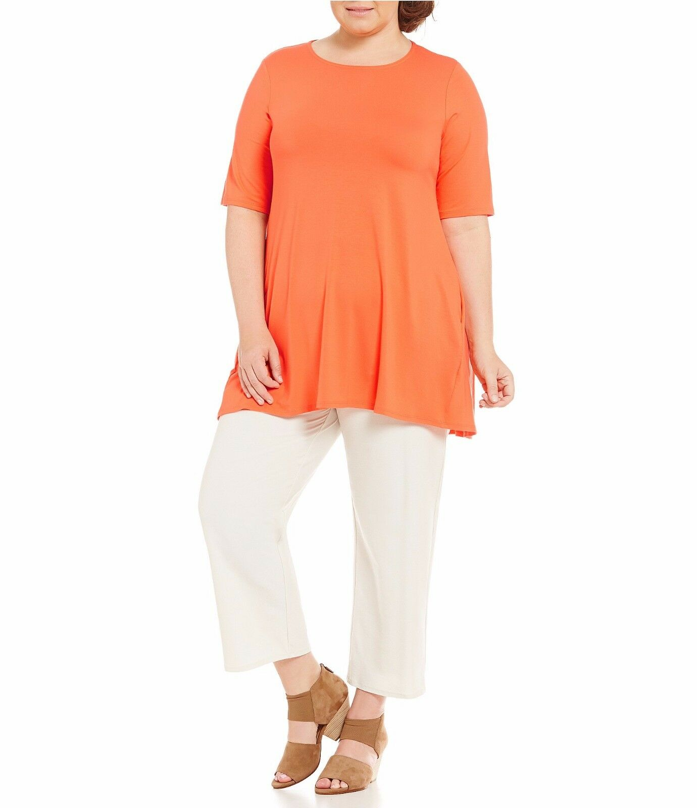 NWT Eileen Fisher Roundneck Tunic Viscose Jersey Orange Guava  – 1X, 2X