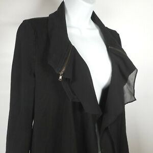 My Beloved Womens M Black Athleisure Cotton Stretch Jacket Open Front Flaw