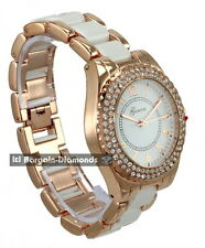 ladies rose gold white designer-style party CZ watch metal link bracelet