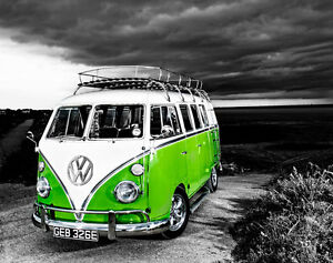 Image Is Loading VW Camper Van Green Canvas Stretched Wall Art