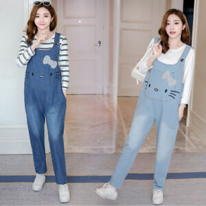 b5ba2f330cc29 Image is loading Cute-Cat-Maternity-Jeans-Jumpsuits-Pants-Denim-Overalls-