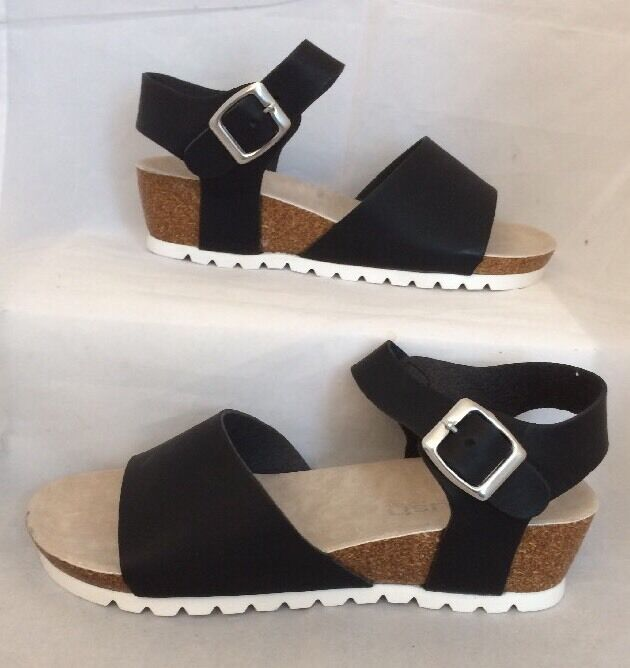 Black Wedges Size 7 Leather Look Summer Holiday