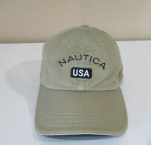0f1b5bbfb3c23 VINTAGE Nautica Strap Back Hat Cap Brown Blue Spell Out Adjustable ...