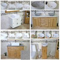 Solid Oak Bathroom Vanity Unit | Sink Cabinet | Ceramic Wash Basin Tap & Plug
