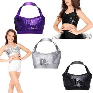 8ad5c9ee01 Kids Girls Ballet Jazz Hip Hop Crop Halter Bra Tops Shiny Sequin ...