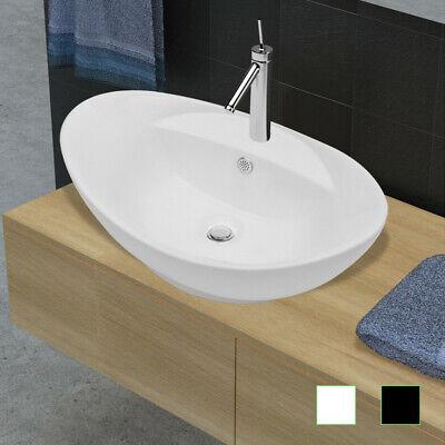 vidaXL Waschbecken Hahnloch Keramik Waschtisch Hand Waschplatz Schwarz//Weiß