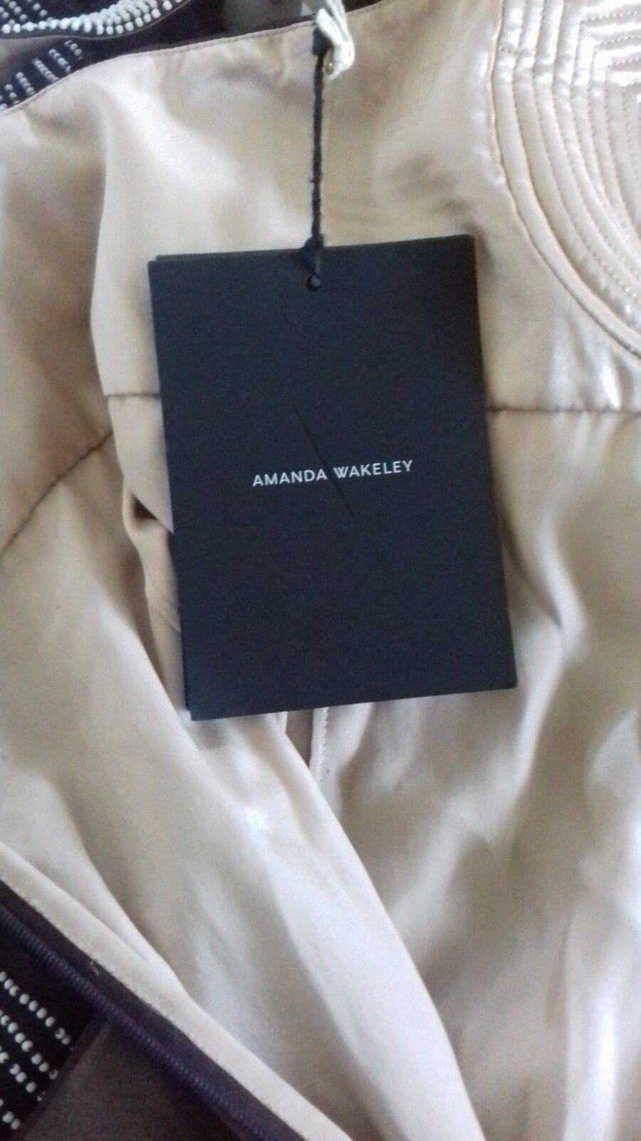 AMANDA Wakeley  mozzafiato a mano con perline lungo vestito di seta-NUOVO CON ETICHETTE