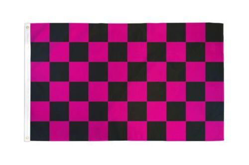 Pink /& Black Checkered flag 2X3ft poly