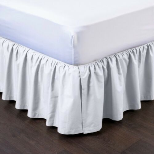 WHITE NEW 1PC 14 DROP SOLID PLAIN BED SKIRT WITH SPLIT CORNERS IN ALL SIZES
