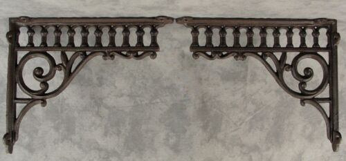 "2 VICTORIAN EASTLAKE CAST IRON 8 ¾"" x 10 ½"" WALL CORNER SHELF BRACKETS"